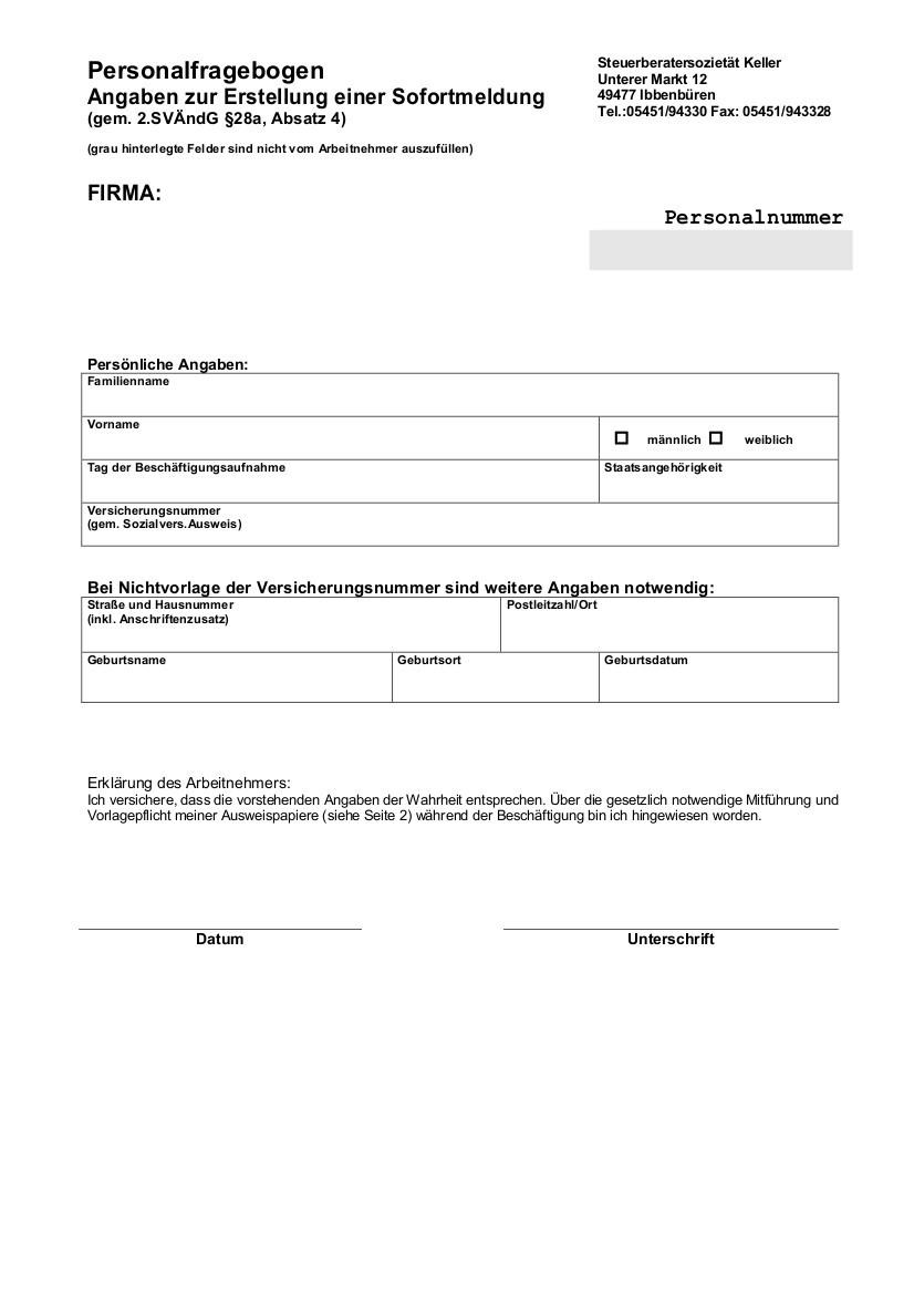 Personalfragebogen Sofortmeldung